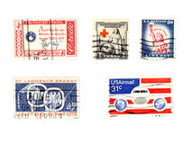 Vieux timbres-poste des USA - collectibles Photographie stock libre de droits