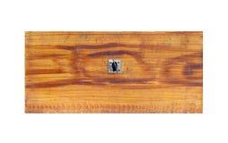 Vieux tiroir en bois sur le fond blanc - vue de face Photo libre de droits
