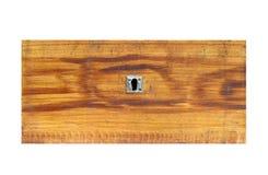 Vieux tiroir en bois sur le fond blanc - vue de face Photographie stock