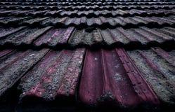 vieux toit carrelé dans la mousse images stock