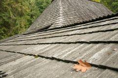 Vieux toit en bois, maison dans la forêt Images stock