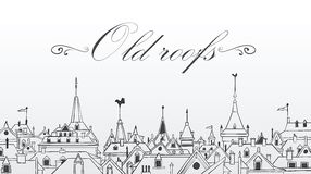 Vieux toits de Prague. Illustration de vecteur. Fond Photographie stock libre de droits