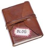 Vieux tourillon avec l'étiquette de blog Images stock