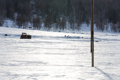 Vieux tracteur sous la neige Photo stock