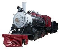 Vieux train de locomotive à vapeur de cru d'isolement, blanc Images stock
