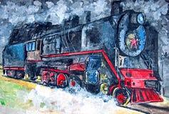 Vieux train de vapeur Aquarelle humide de peinture sur le papier Art naïf Aquarelle de dessin sur le papier illustration de vecteur