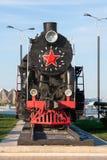 Vieux train de vapeur en parc de bord de la mer à Bakou, Azerbaïdjan Photos stock