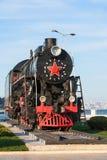 Vieux train de vapeur en parc de bord de la mer à Bakou, Azerbaïdjan Image libre de droits