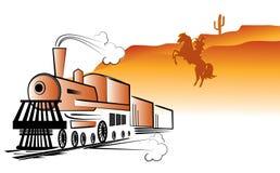 Vieux train et bandit de vecteur Photo stock