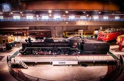 Vieux trains dans le musée ferroviaire d'Omiya, Saitama, Japon Photos stock