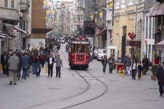 Vieux tram à Istanbul Photographie stock