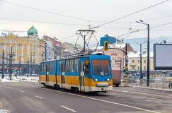 Vieux tram à Sofia Photos stock