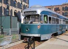 Vieux tram dans la section rouge de crochet de Brooklyn Images libres de droits