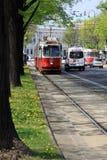 Vieux tram dans Wien, Autriche Image stock