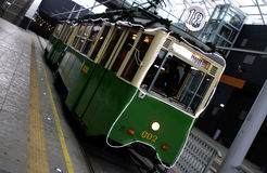 Vieux tram de Noël à Poznan Photos stock
