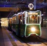 Vieux tram de Noël à Poznan Image libre de droits