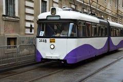 Vieux tram sur des rues de Timisoara Images stock