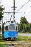 Vieux tramway bleu Photos stock