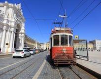 Vieux tramway rouge Image libre de droits