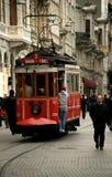 Vieux tramway sur Istiklal Caddesi (Istanbul, Turquie) Images libres de droits