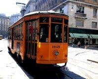 Vieux tramway type de Milan Photo libre de droits
