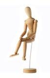 Vieux triste factice en bois de sentiment de mannequin d'isolement sur le blanc Image libre de droits