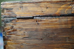 Vieux trou de la serrure en bois de coffre Photo libre de droits
