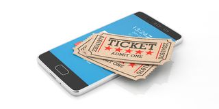 Vieux type billets d'isolement sur un smartphone sur un fond blanc, de cinéma illustration 3d illustration stock