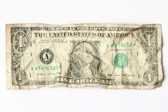 Vieux usé un billet d'un dollar Image libre de droits