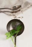 Vieux ustensiles en métal sur un fond blanc Images stock