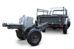 Vieux véhicule militaire avec la mitrailleuse Image stock