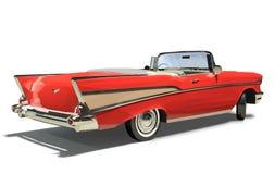 Vieux véhicule rouge avec un à couvercle serti. Convertible. Photographie stock libre de droits