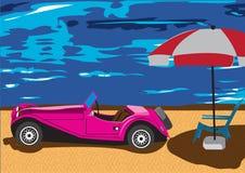Vieux véhicule sur la plage Photos stock