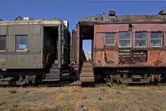 Vieux véhicules du train de mouffette Photos stock