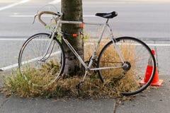 Vieux vélo de emballage se penchant contre l'arbre Photos libres de droits