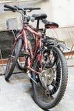 Vieux vélo de la ville deux verrouillé ensemble Image stock