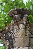 Vieux vase en pierre avec la tête de chèvre en parc Image libre de droits