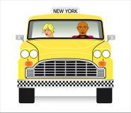 Vieux vecteur jaune de taxi Photographie stock libre de droits