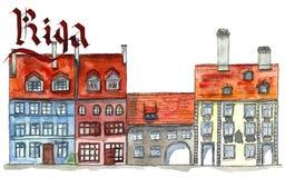 Vieux vew de rue de ville de Riga illustration stock
