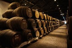 Vieux a vieilli les barils en bois traditionnels avec du vin dans une chambre forte align?e dans la cave fra?che et fonc?e en Ita photos stock
