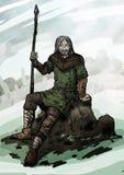 Vieux Viking s'asseyant sur une roche illustration de vecteur