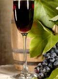 Vieux vin rouge avec l'encore-durée de raisin Image libre de droits