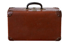 Vieux vintage d'isolement Dusty Brown Suitcase Photos stock
