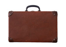 Vieux vintage d'isolement Dusty Brown Suitcase Photographie stock libre de droits