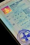 Vieux visa d'immigration de la Finlande Images libres de droits