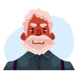 Vieux visage africain d'une chevelure gris d'homme, expression du visage fâchée Photo stock