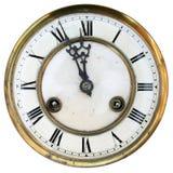 Vieux visage d'horloge d'isolement Image stock
