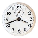 Vieux visage d'horloge d'isolement sur le blanc Photo libre de droits