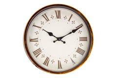 Vieux visage d'horloge de vintage sur le fond blanc Image stock