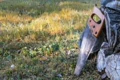 Vieux a vu le repos sur une pile de bois de charpente en bois photos libres de droits